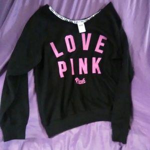 Off the shoulder Pink sweatshirt. VS!
